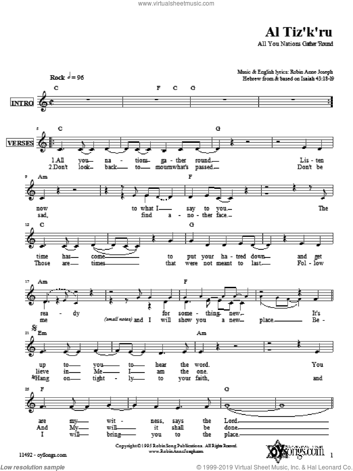 Al Tiz'k'ru sheet music for voice and other instruments (fake book) by Robin Joseph, intermediate skill level