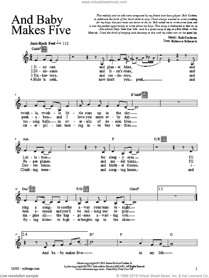 And Baby Makes Five sheet music for voice and other instruments (fake book) by Rebecca Schwartz, intermediate. Score Image Preview.