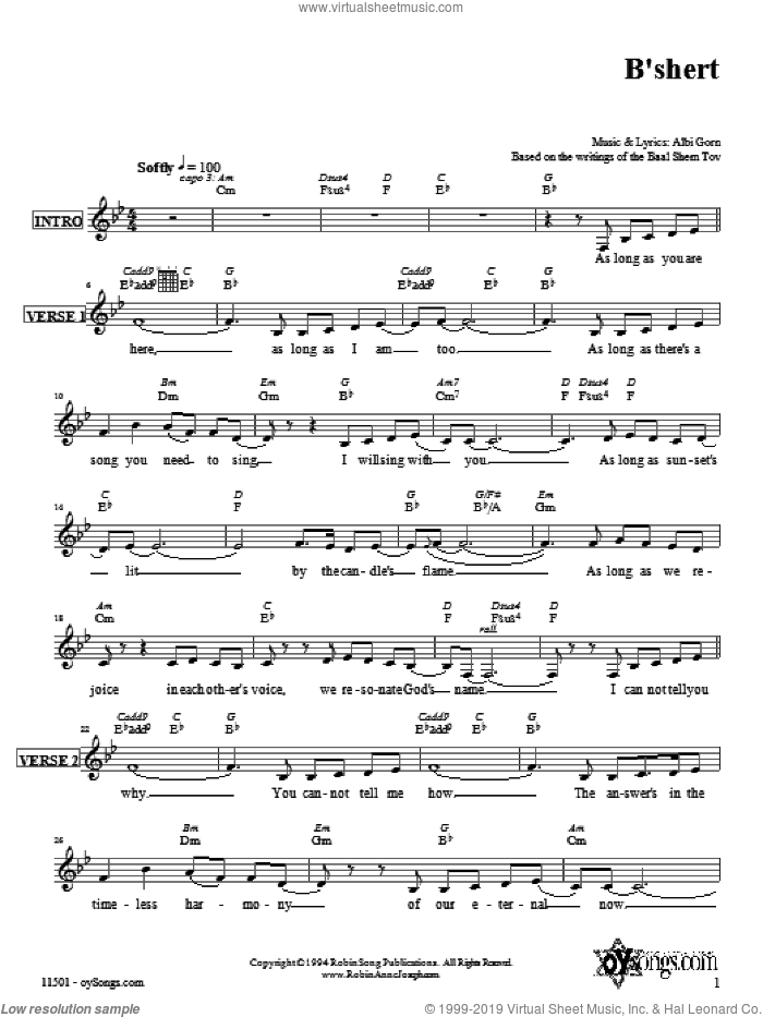 B'shert sheet music for voice and other instruments (fake book) by Robin Joseph. Score Image Preview.