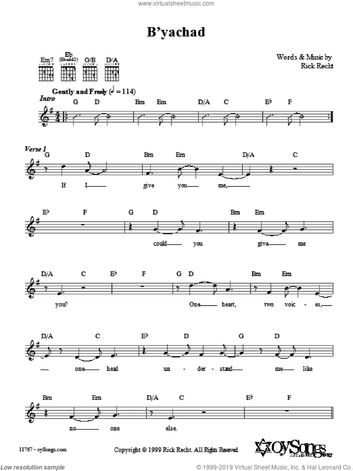 B'yachad sheet music for voice and other instruments (fake book) by Rick Recht, intermediate. Score Image Preview.