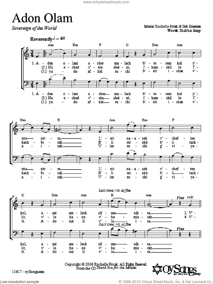 Adon Olam sheet music for choir and piano (duets) by Shir Harmony. Score Image Preview.
