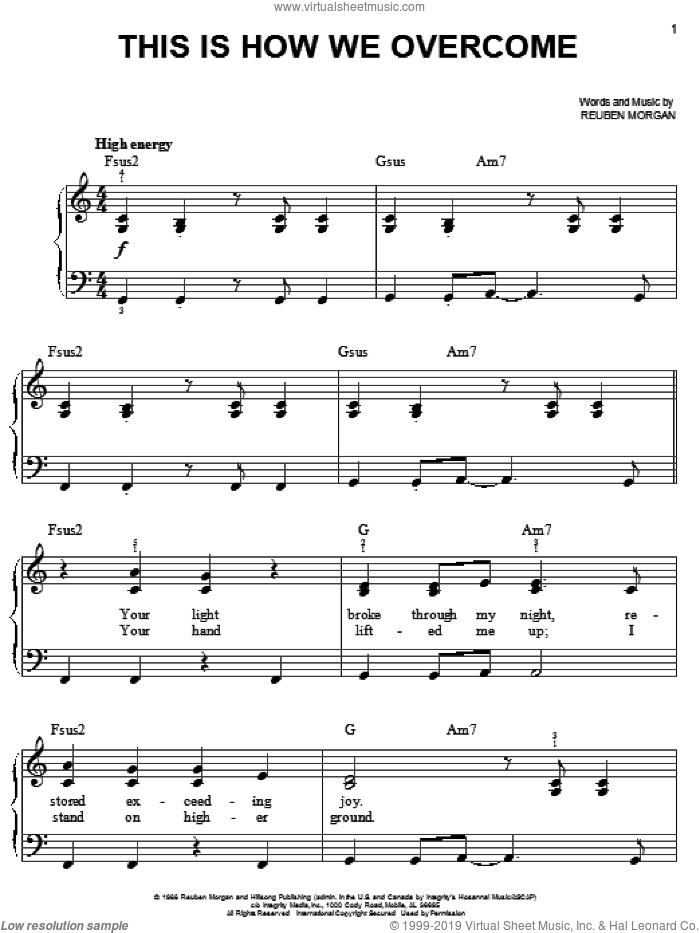This Is How We Overcome sheet music for piano solo by Reuben Morgan, easy skill level