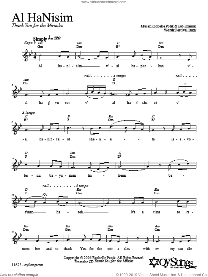 Al HaNisim sheet music for choir and piano (duets) by Shir Harmony. Score Image Preview.