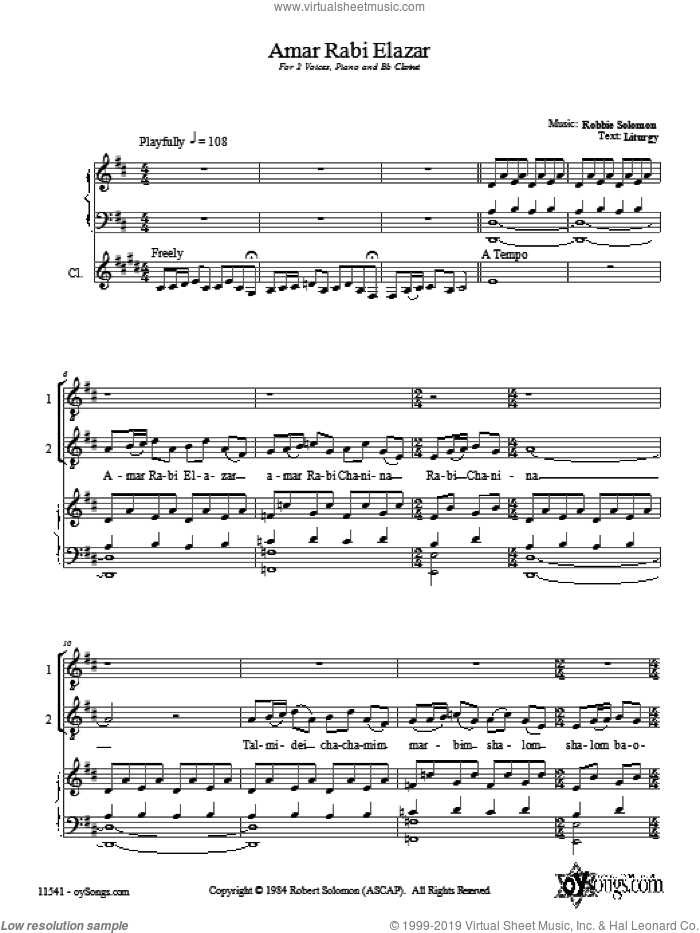Amar Rabi Elazar sheet music for choir and piano (duets) by Robbie Solomon