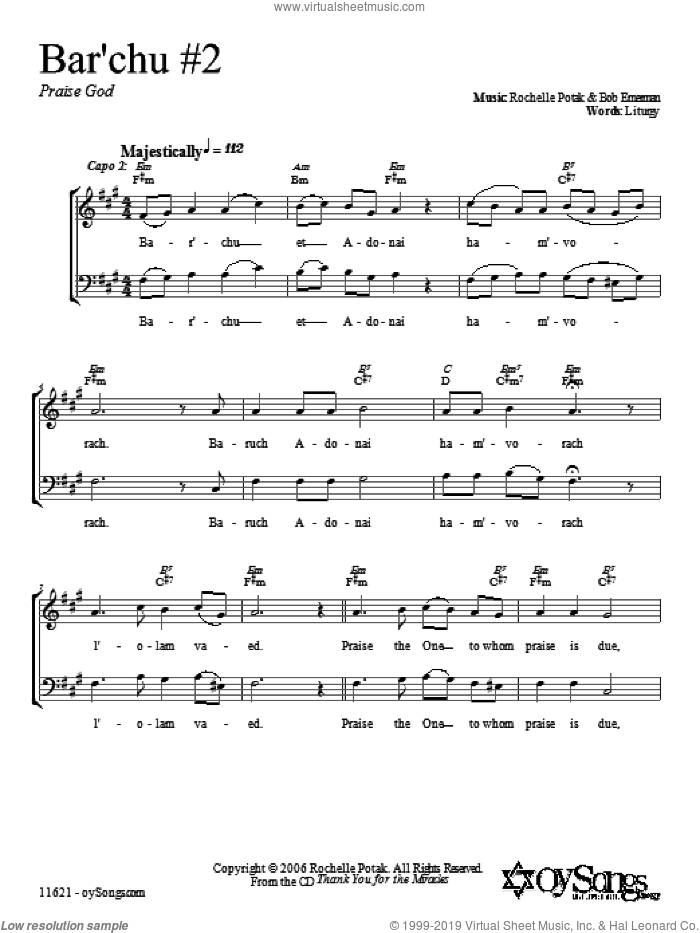 Bar'chu sheet music for voice and other instruments (fake book) by Shir Harmony. Score Image Preview.