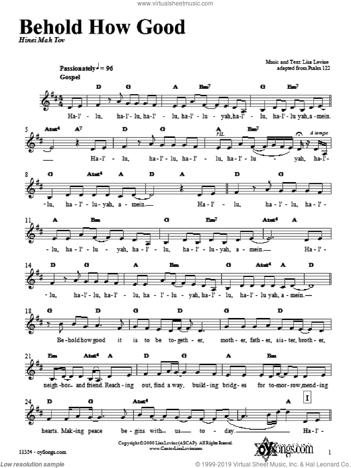 Behold How Good sheet music for voice and other instruments (fake book) by Lisa Levine, intermediate voice. Score Image Preview.