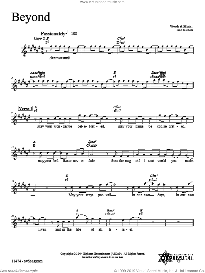 Beyond sheet music for voice and other instruments (fake book) by Dan Nichols, intermediate skill level