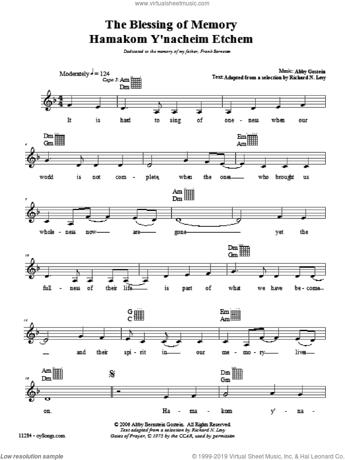 Blessing of Memory sheet music for voice and other instruments (fake book) by Abby Gostein. Score Image Preview.