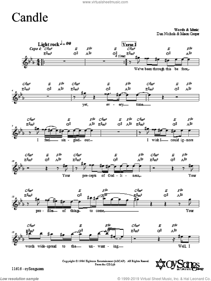 Candle sheet music for voice and other instruments (fake book) by Dan Nichols, intermediate skill level
