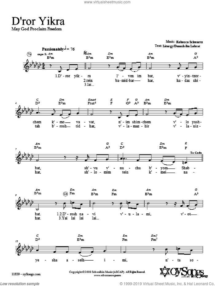 D'ror Yikra sheet music for voice and other instruments (fake book) by Rebecca Schwartz, intermediate voice. Score Image Preview.