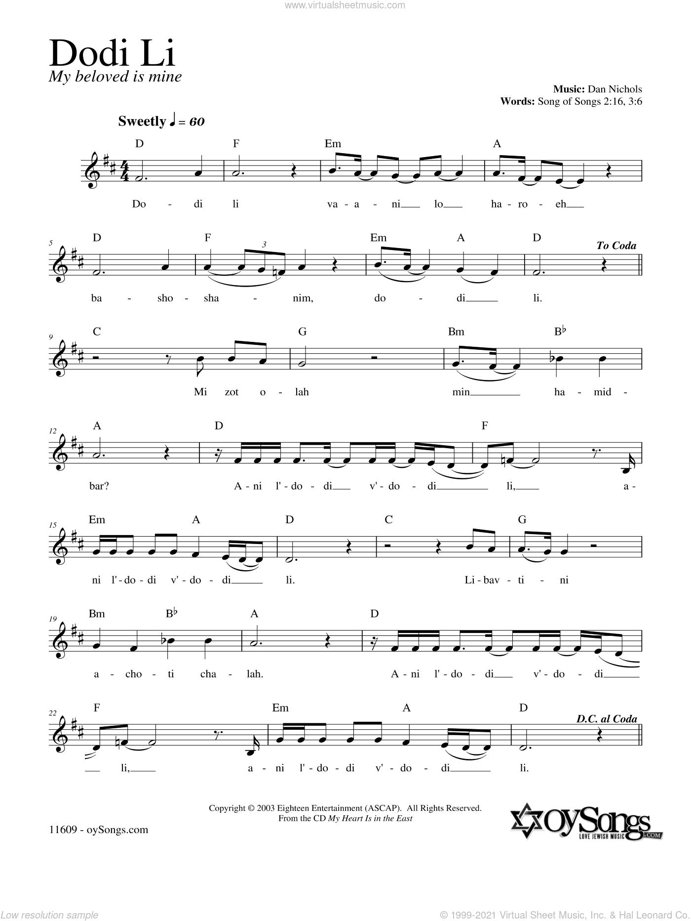Dodi Li sheet music for voice and other instruments (fake book) by Dan Nichols, intermediate skill level