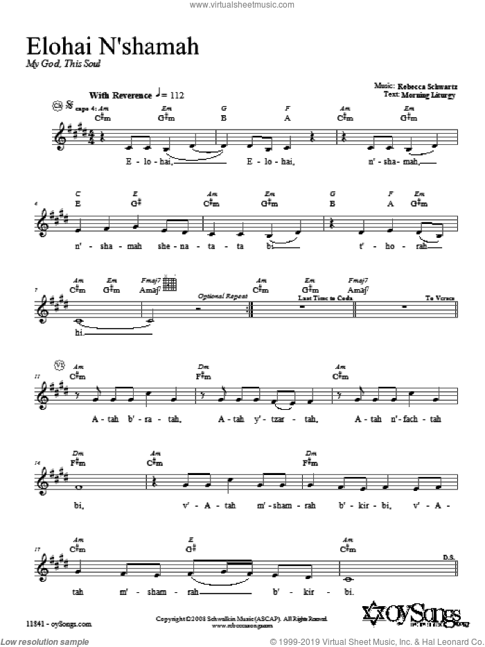 Elohai N'shamah sheet music for voice and other instruments (fake book) by Rebecca Schwartz, intermediate skill level