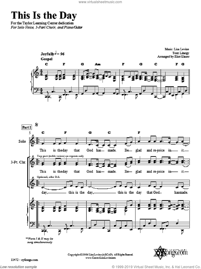 This Is the Day sheet music for voice, piano or guitar by Lisa Levine. Score Image Preview.