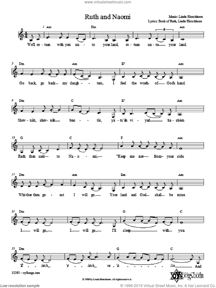 Ruth and Naomi sheet music for choir and piano (chamber ensemble) by Linda Hirschhorn. Score Image Preview.