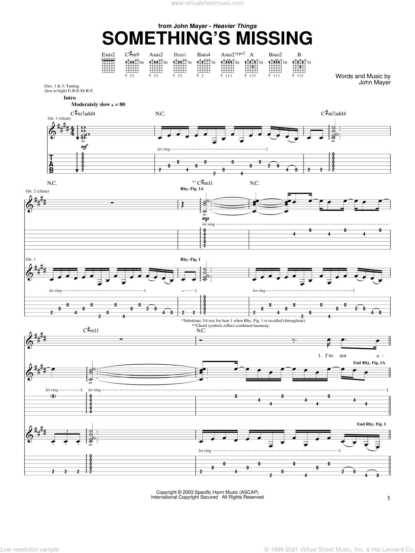 Something's Missing sheet music for guitar (tablature) by John Mayer, intermediate skill level