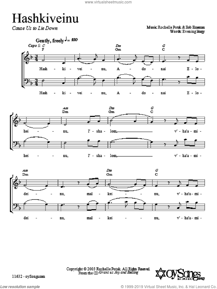 Hashkiveinu sheet music for choir and piano (duets) by Shir Harmony