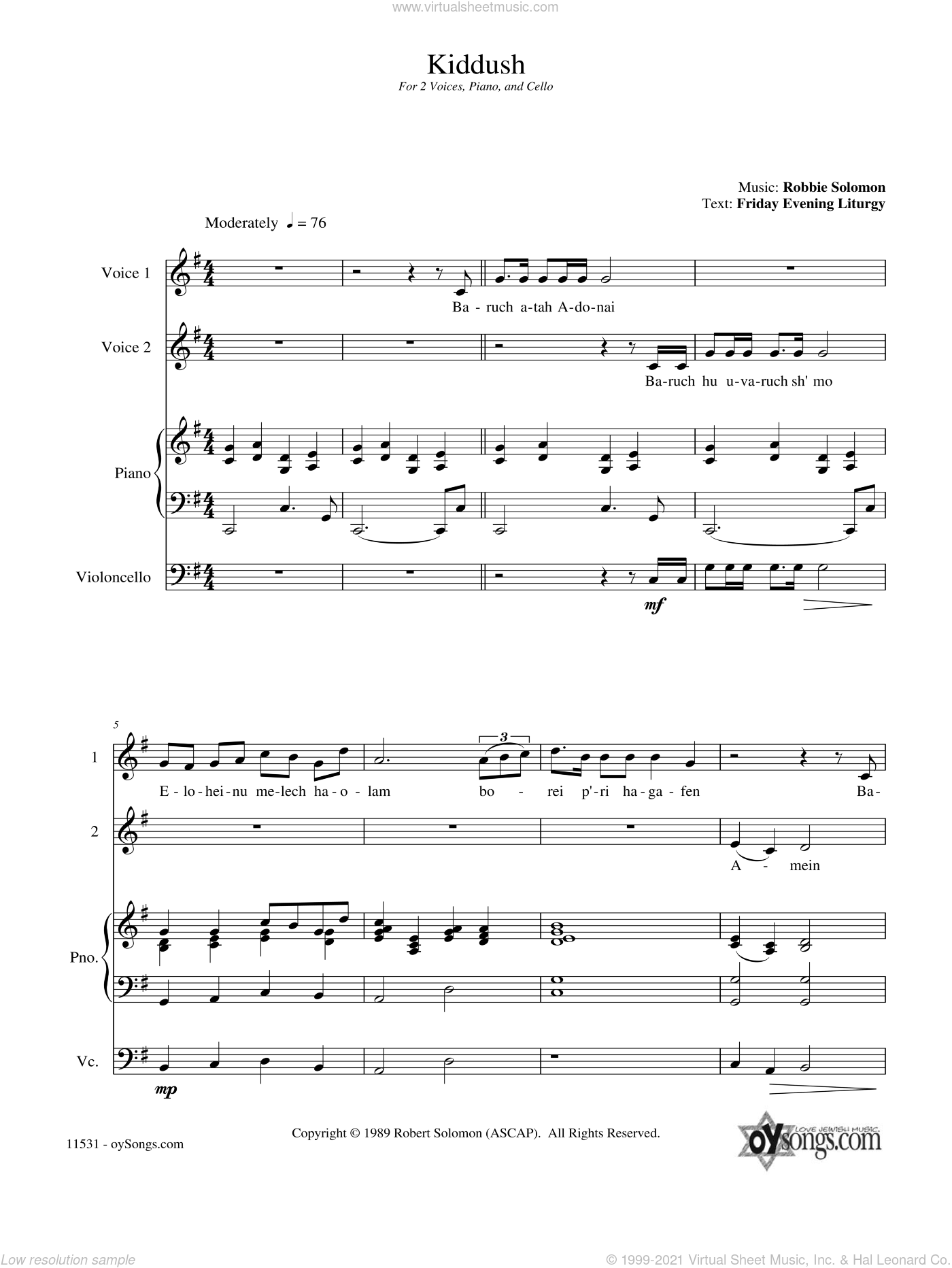 Kiddush sheet music for choir and piano (duets) by Robbie Solomon