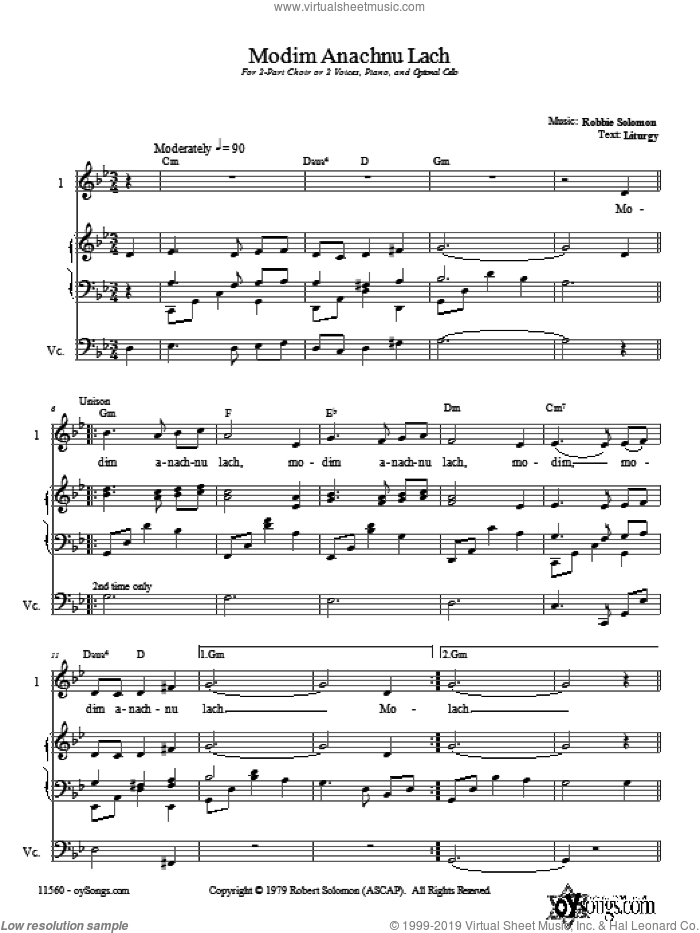Modim Anachnu Lach sheet music for choir and piano (duets) by Robbie Solomon