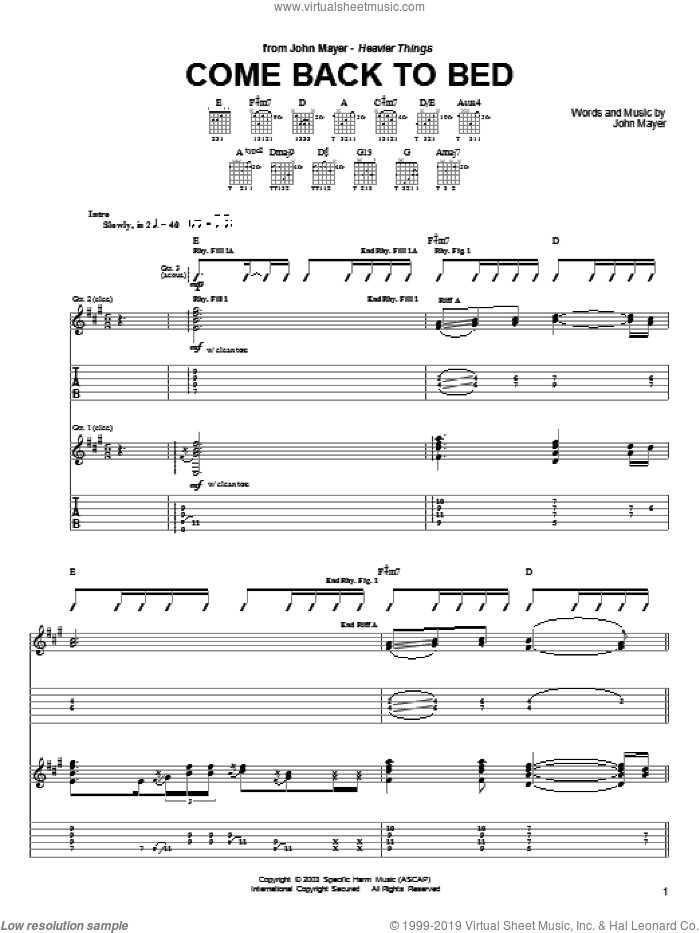 Come Back To Bed sheet music for guitar (tablature) by John Mayer. Score Image Preview.