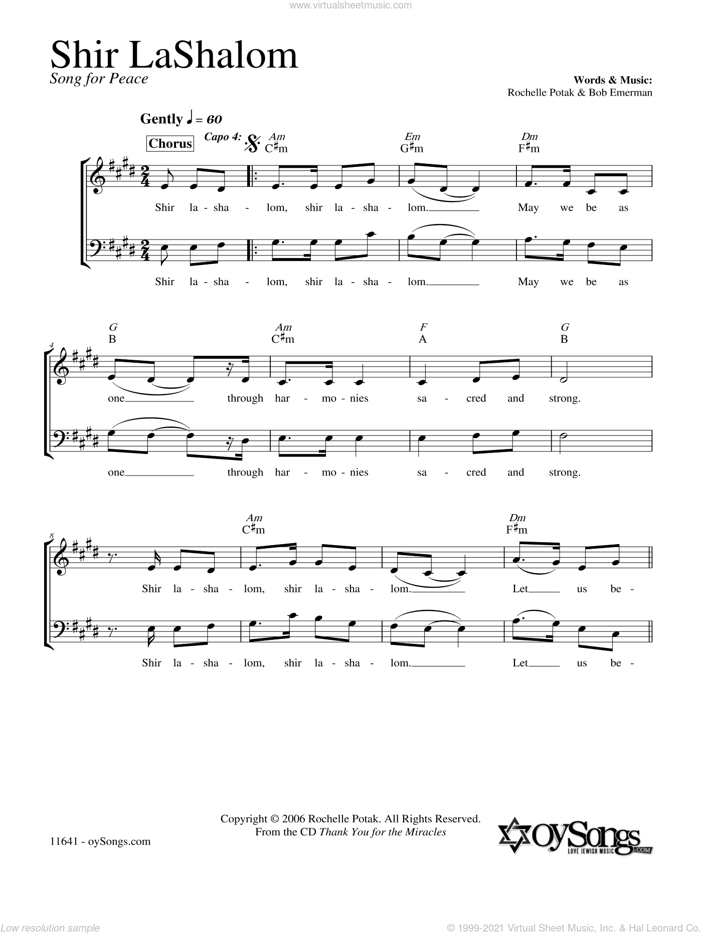 Shir LaShalom sheet music for choir and piano (duets) by Shir Harmony. Score Image Preview.