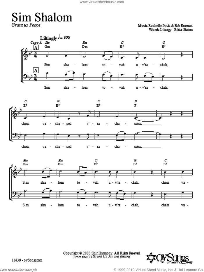 Sim Shalom sheet music for choir (duets) by Shir Harmony. Score Image Preview.
