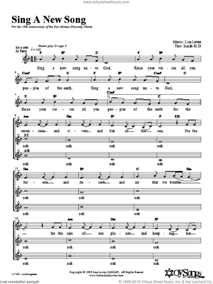 Sing a New Song sheet music for choir (2-Part) by Lisa Levine, intermediate duet