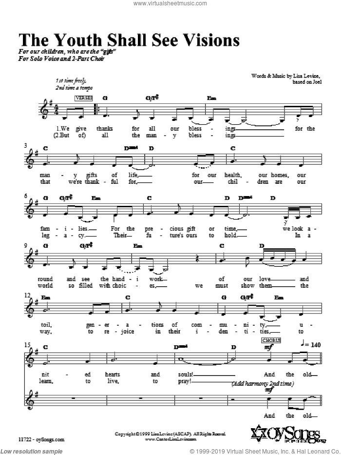 The Youth Shall See Visions sheet music for choir (duets) by Lisa Levine. Score Image Preview.