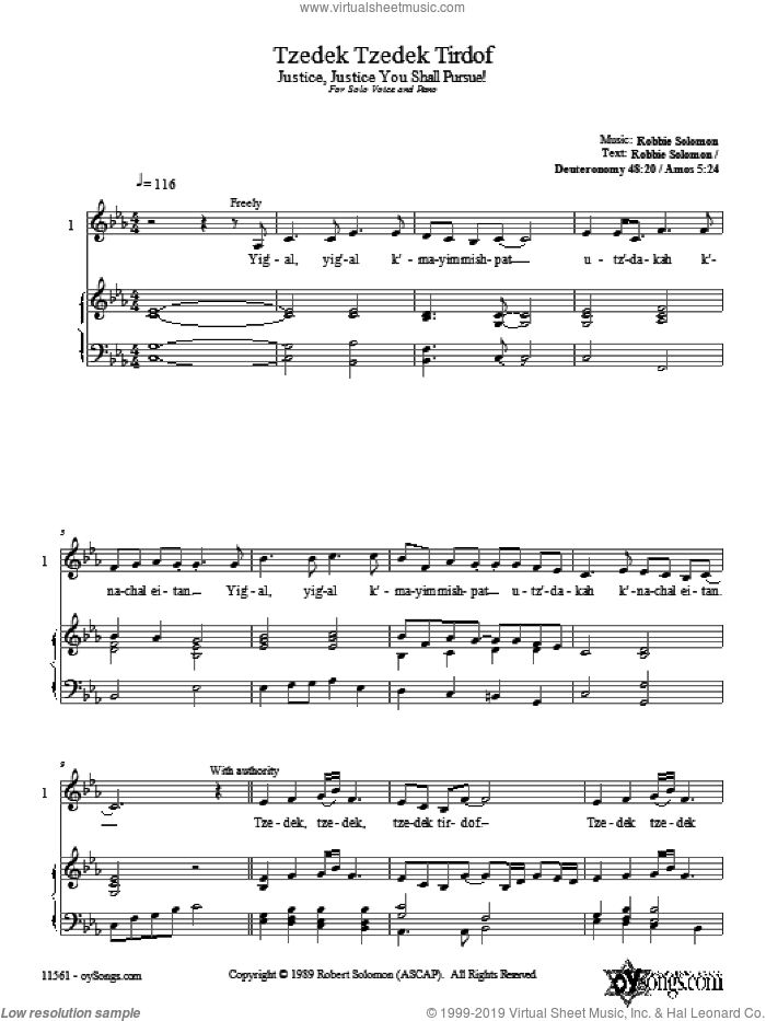 Tzedek Tzedek Tirdof sheet music for choir and piano (duets) by Robbie Solomon. Score Image Preview.