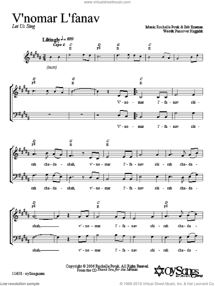 V'nomar L'fanav sheet music for choir (2-Part) by Shir Harmony, intermediate duet. Score Image Preview.