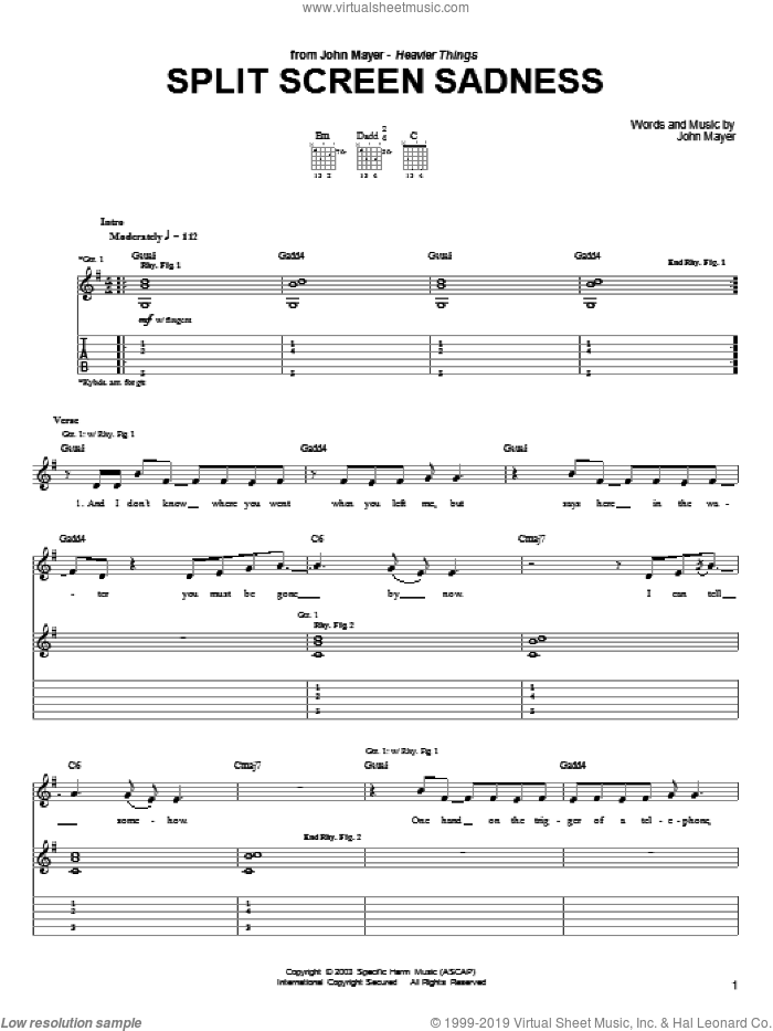 Split Screen Sadness sheet music for guitar (tablature) by John Mayer. Score Image Preview.