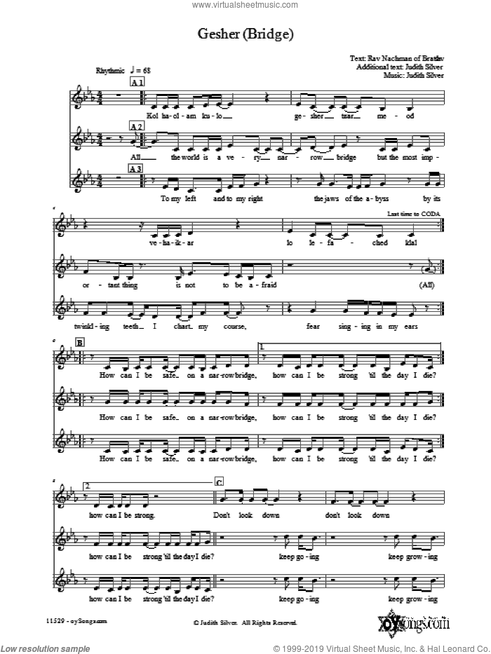 Gesher (Bridge) sheet music for choir (3-Part Mixed) by Judith Silver, intermediate skill level