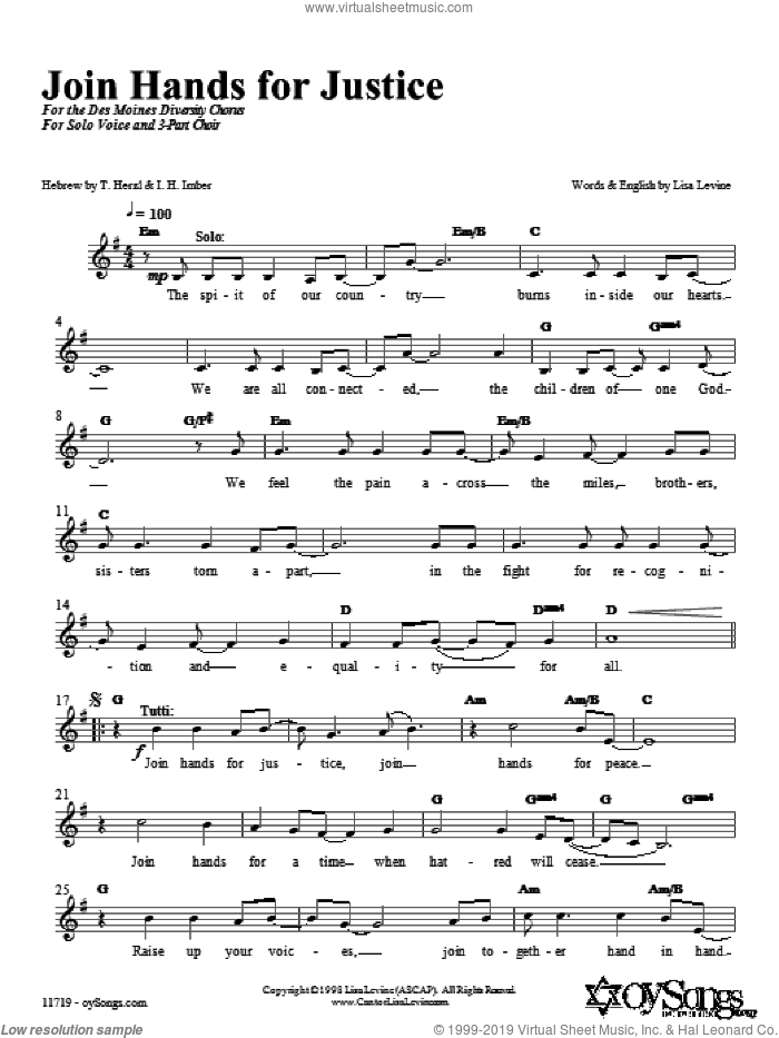 Join Hands in Justice sheet music for choir (chamber ensemble) by Lisa Levine, intermediate. Score Image Preview.