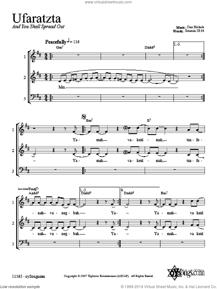 Ufaratzta sheet music for choir (chamber ensemble) by Dan Nichols. Score Image Preview.