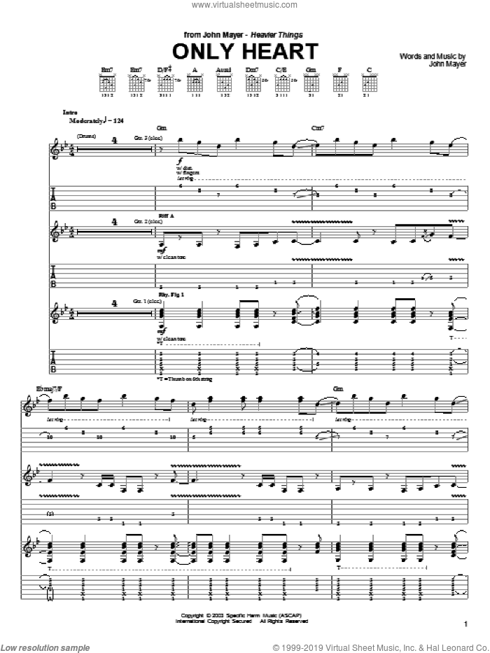 Only Heart sheet music for guitar (tablature) by John Mayer. Score Image Preview.