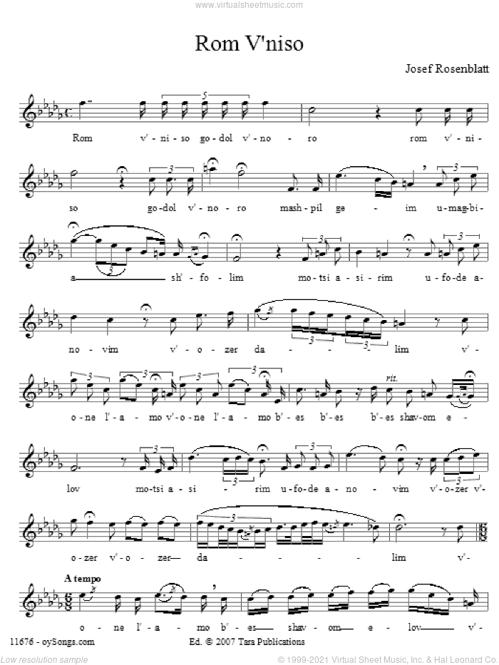 Rom V'niso sheet music for choir and piano (voice) by Yossele Rosenblatt. Score Image Preview.