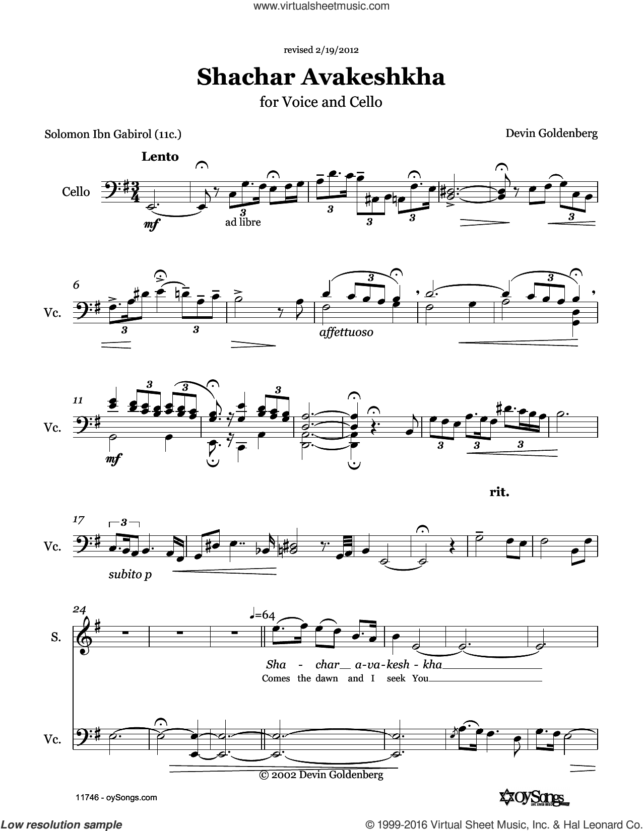Shachar Avakeshcha sheet music for choir and piano (voice) by Devin Goldenberg