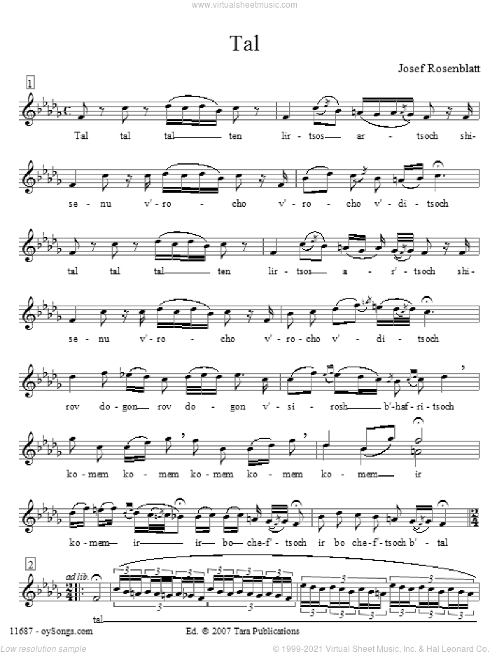 Tal sheet music for choir and piano (voice) by Yossele Rosenblatt. Score Image Preview.