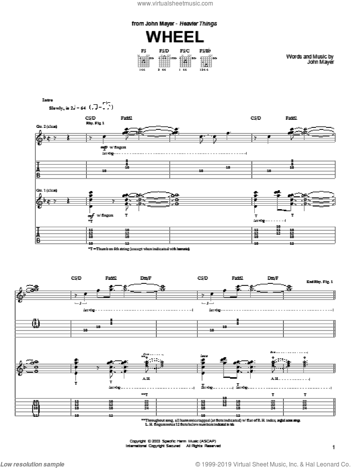 Wheel sheet music for guitar (tablature) by John Mayer. Score Image Preview.