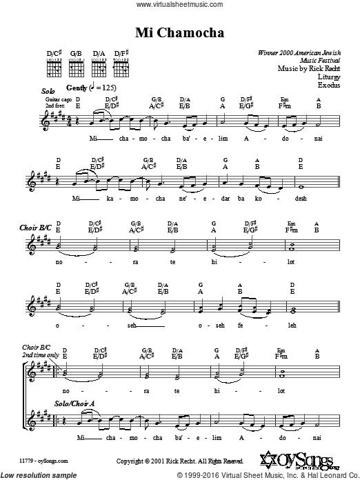 Mi Chamocha sheet music for choir and piano (Mixed ) by Rick Recht. Score Image Preview.