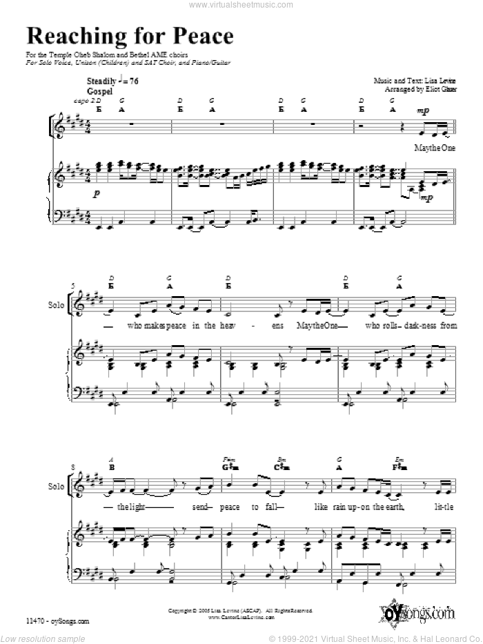 Reaching for Peace sheet music for choir (Mixed ) by Lisa Levine. Score Image Preview.