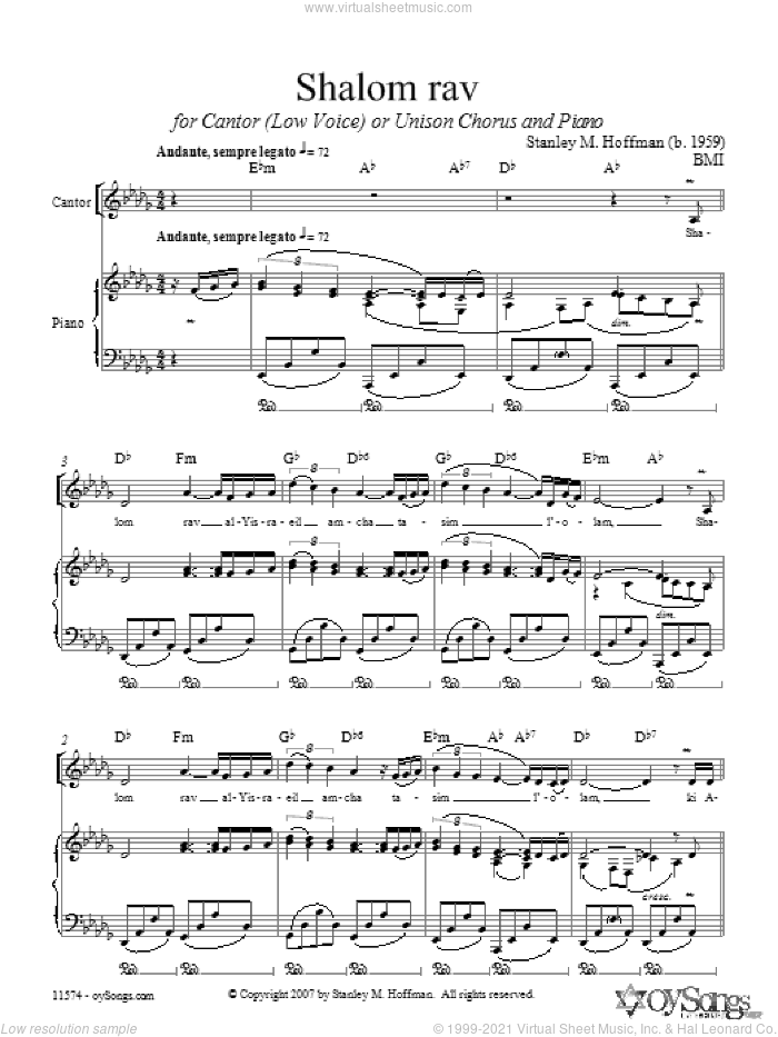 Shalom Rav sheet music for choir (Mixed ) by Stanley Hoffman. Score Image Preview.
