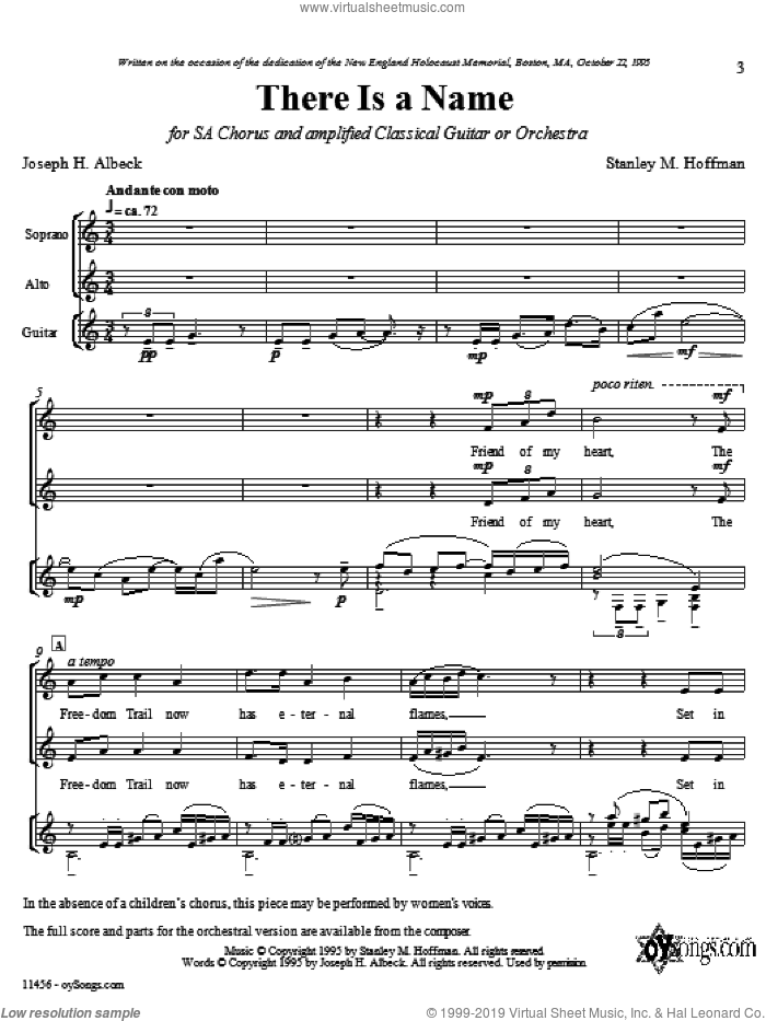 There Is A Name sheet music for choir (duets) by Stanley Hoffman, intermediate duet