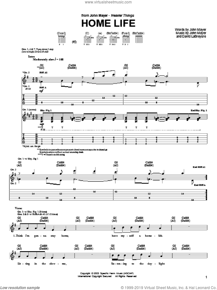 Home Life sheet music for guitar (tablature) by David LaBruyere and John Mayer. Score Image Preview.