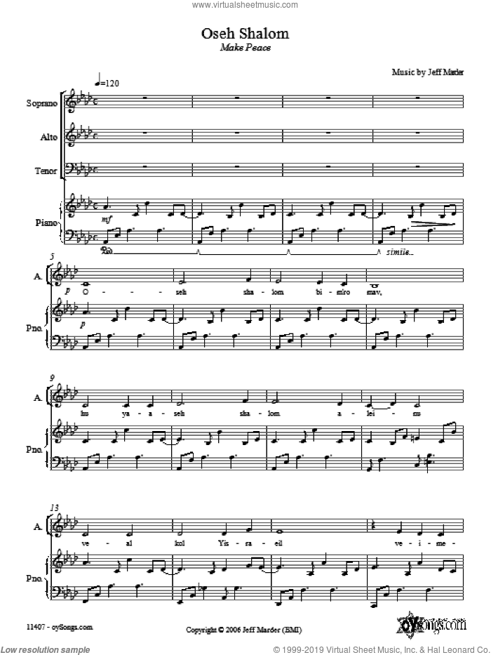 Oseh Shalom sheet music for choir and piano (SAT) by Jeff Marder