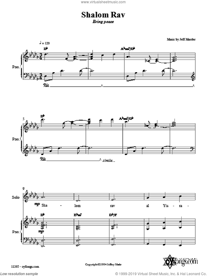 Shalom Rav sheet music for choir (SAT: soprano, alto, tenor) by Jeff Marder, intermediate. Score Image Preview.