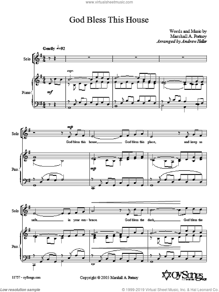 God Bless This House sheet music for choir (SATB: soprano, alto, tenor, bass) by Andrew Heller and Marshall Portnoy, intermediate skill level