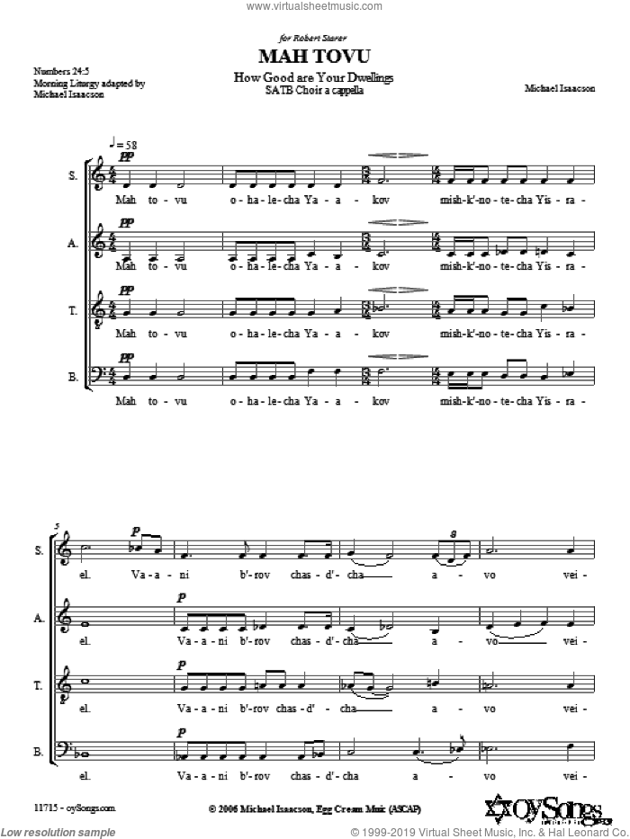 Mah Tovu sheet music for choir (SATB: soprano, alto, tenor, bass) by Michael Isaacson, intermediate