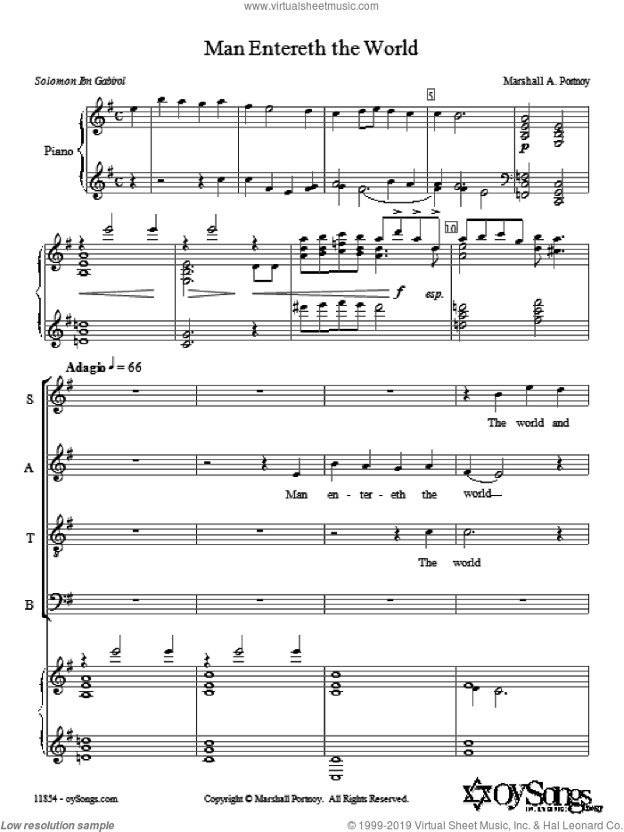 Man Entereth the World sheet music for choir (SATB: soprano, alto, tenor, bass) by Marshall Portnoy, intermediate skill level