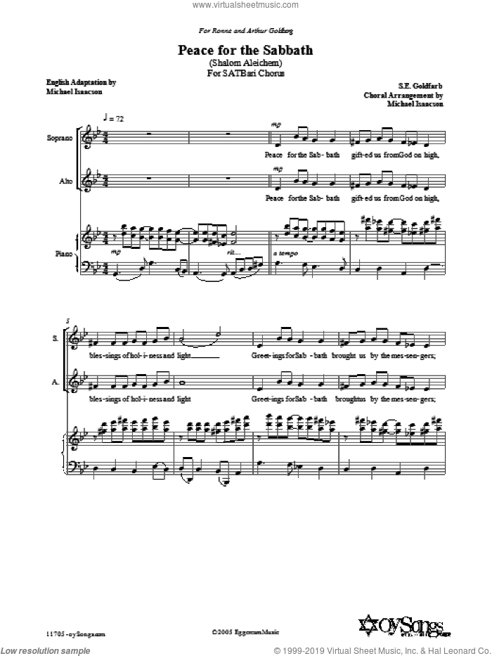 Peace for the Sabbath sheet music for choir and piano (SATB) by S.E. Isaacson and Michael Isaacson. Score Image Preview.