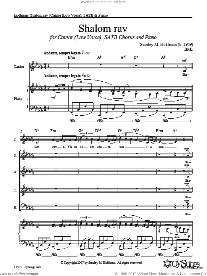 Shalom Rav sheet music for choir (SATB: soprano, alto, tenor, bass) by Stanley Hoffman, intermediate